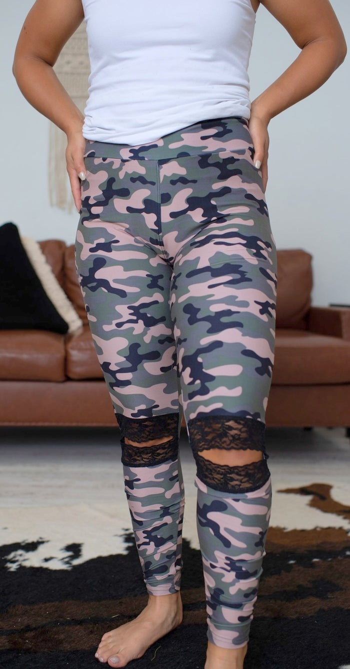 Lace Ankle Leggings, Camo