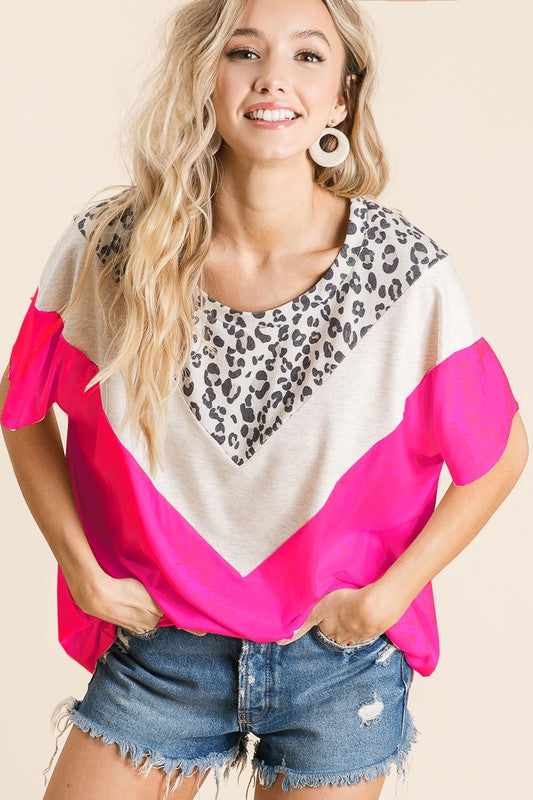 bibi leopard & color block top neon pink