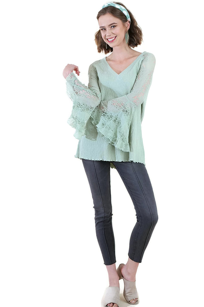 Sheer Lace Bell Sleeve Tunic Top, Dusty Mint