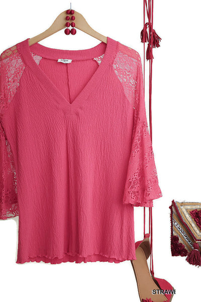 Sheer Lace Bell Sleeve Tunic Top,  Strawberry