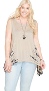 Sleeveless Tank Top With Side Tie Dye, Taupe