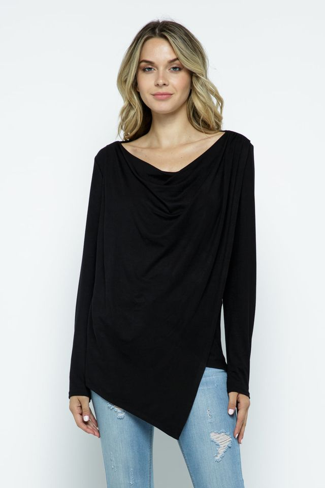 Cowl Asymmetric Top, Black