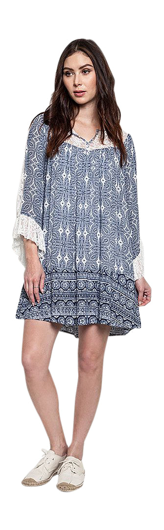 Lace Detailed Shift Dress, Blue