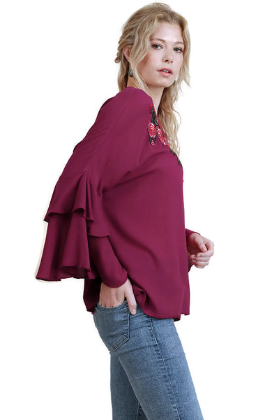 Embroidered Layered Bell Sleeve Top, Magenta