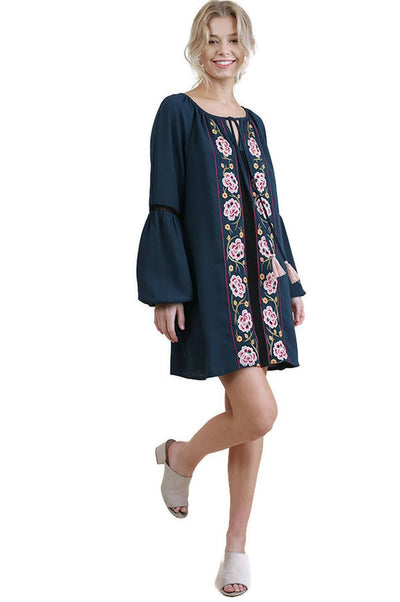Floral Embroidered Dress with Crochet Trim, Midnight