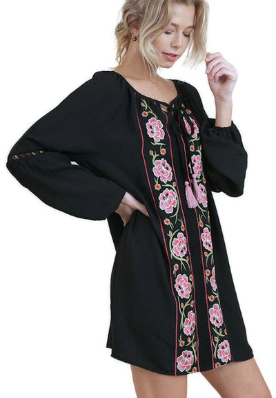 Floral Embroidered Dress with Crochet Trim, Black