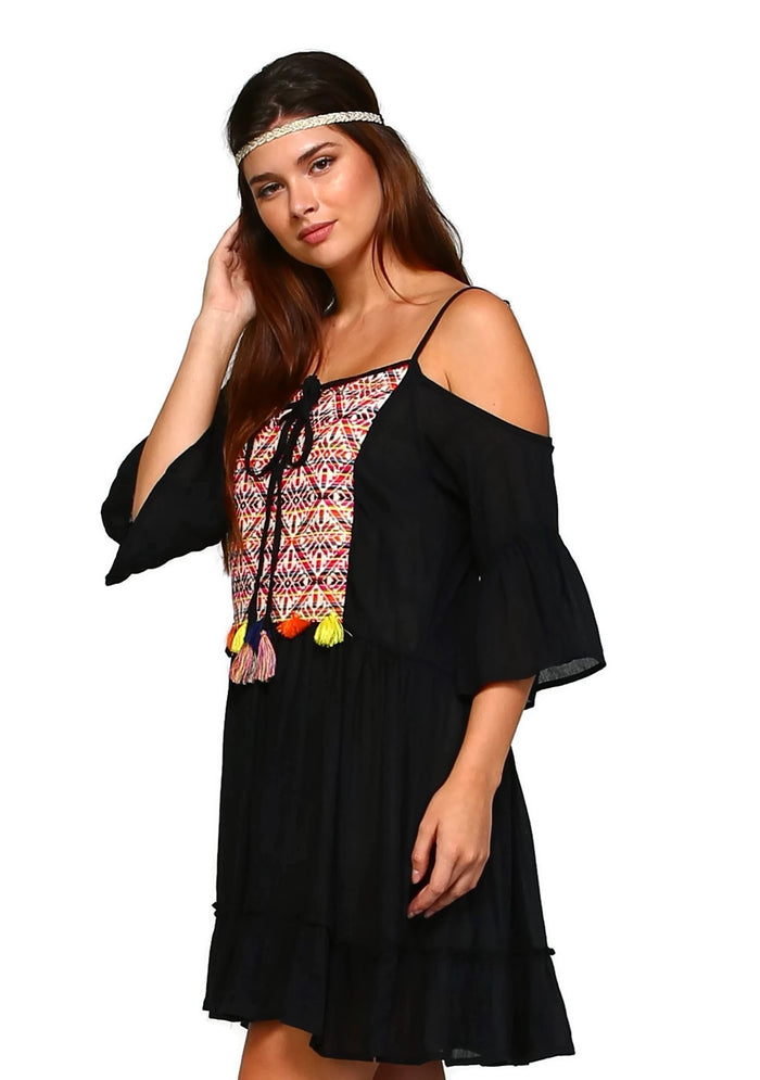 Tribal Cold Shoulder Embroidered Tassel Dress