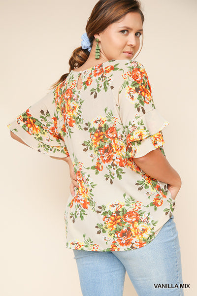 Floral Layered Ruffle Sleeve Blouse Plus Size, Vanilla