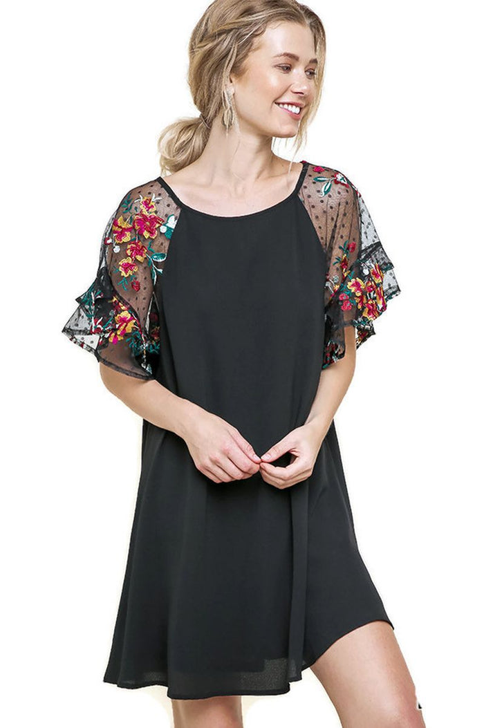 Ruffled Embroidered Sheer Sleeve Crepe Dress, Black