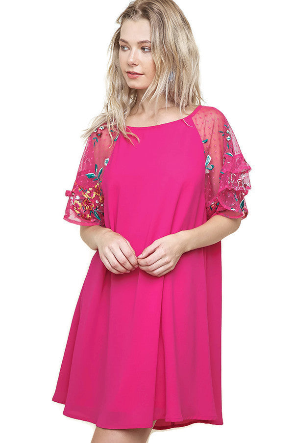 Ruffled Embroidered Sheer Sleeve Crepe Dress, Fuchsia