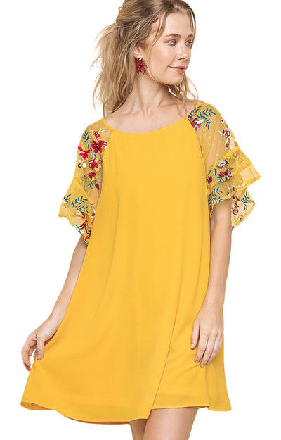 Ruffled Embroidered Sheer Sleeve Crepe Dress, Mango