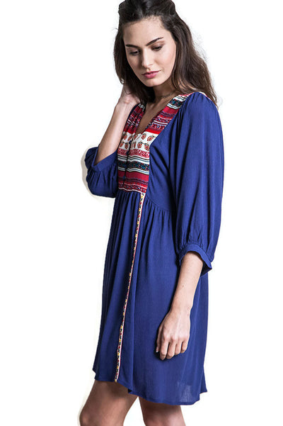Bohemian Peasant Dress, Indigo
