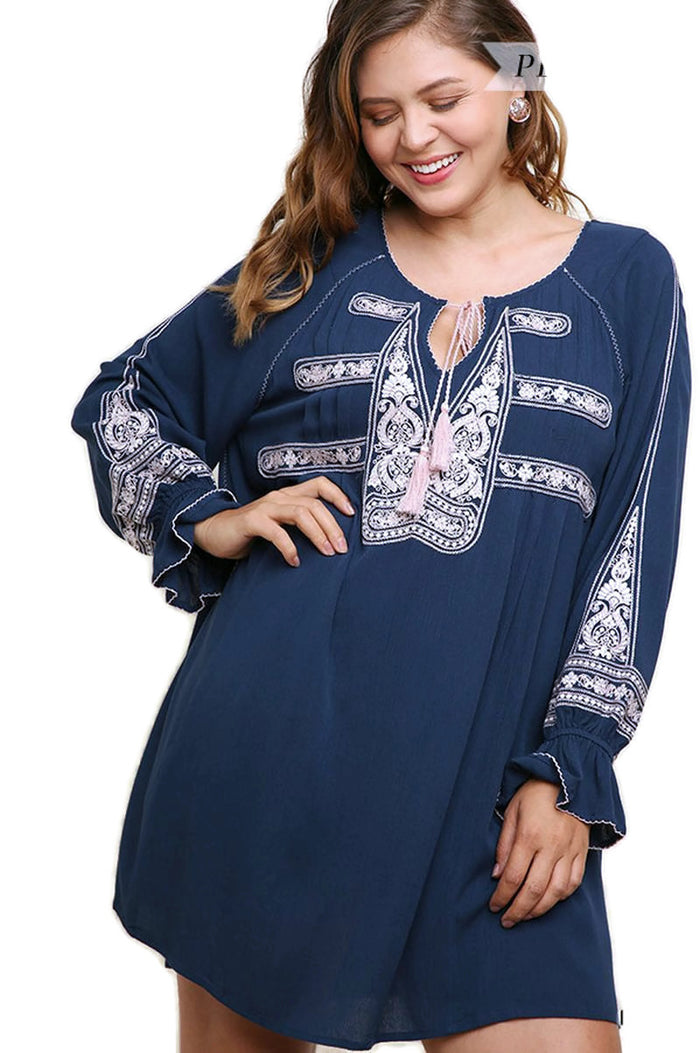 Key Largo Embroidered Dress, Navy