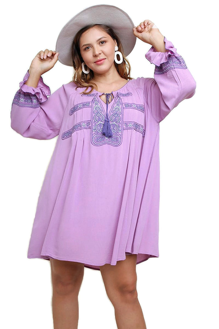 Key Largo Embroidered Dress, Violet
