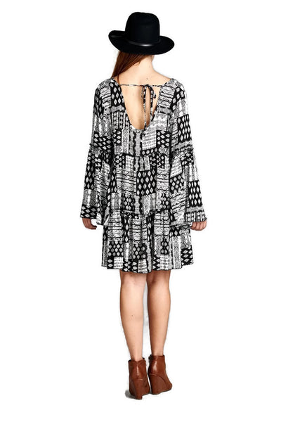Multi-Pattern Bell Sleeve Dress, Black