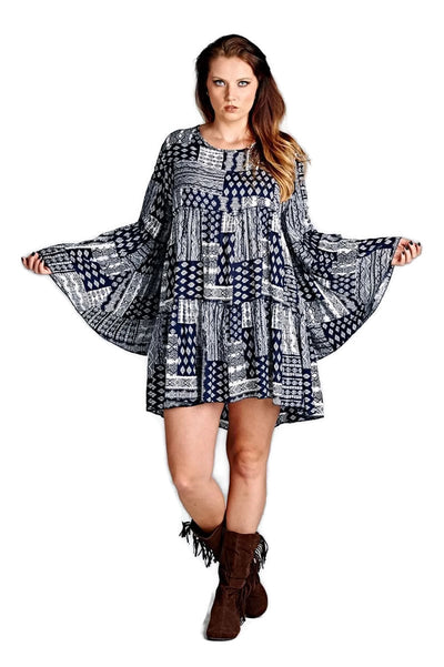 Multi-Pattern Bell Sleeve Dress, Blue