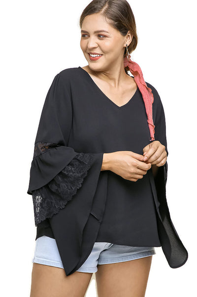 Layered Floral Lace Asymmetrical Bell Sleeve Blouse, Black
