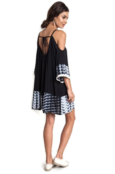 Tie Dye Cold Shoulder Tunic Dress, Black