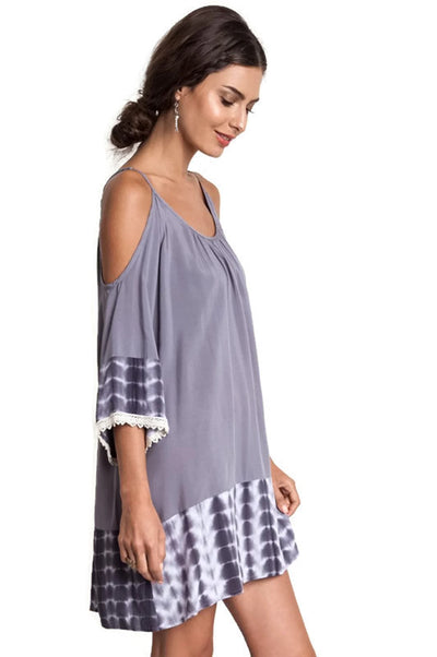 Tie Dye Cold Shoulder Tunic Dress, Grey