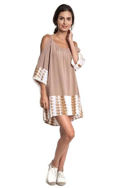 Tie Dye Cold Shoulder Tunic Dress, Taupe
