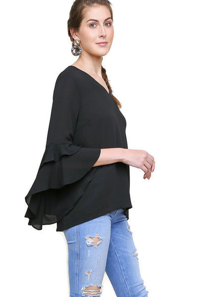 Layered Ruffle High Low Sleeve Blouse, Black