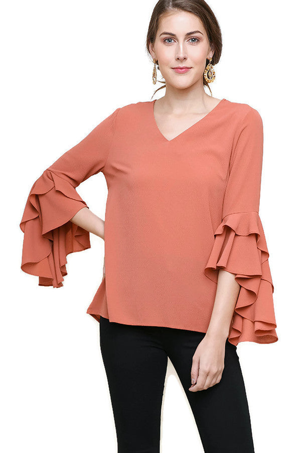 Layered Ruffle High Low Sleeve Blouse, Clay