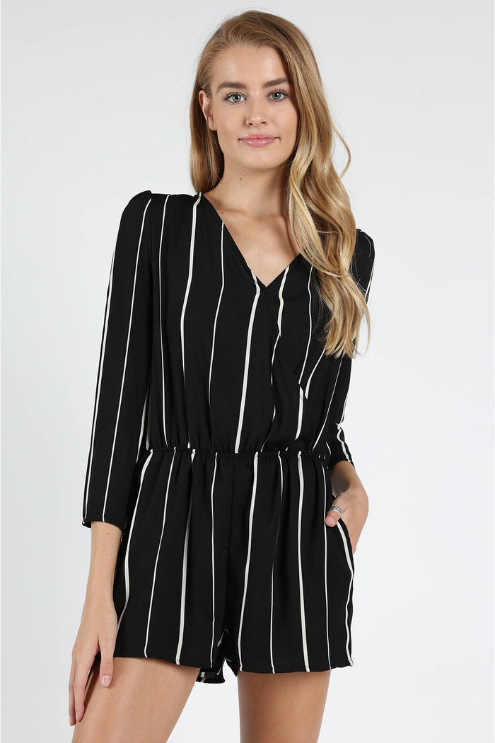 St Thomas V Back Striped Romper, Black