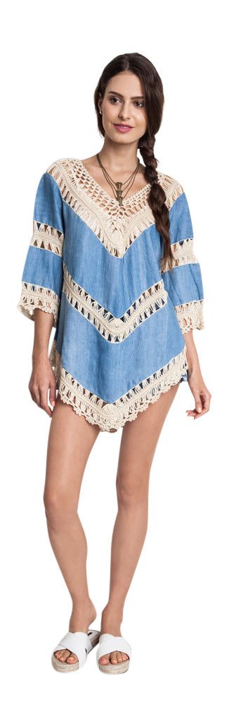 Bohemian Lacy Crochet Trim Tunic,  Denim
