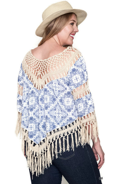 Crochet & Fringe Printed Top, Off White
