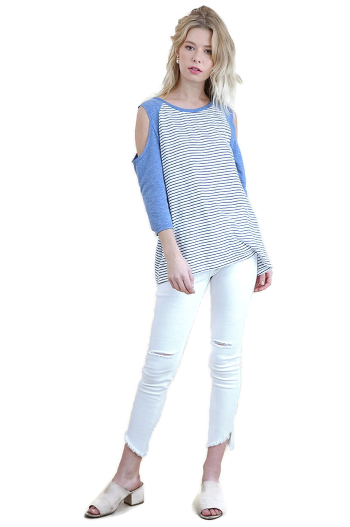 Open Shoulder Striped Raglan Top, Blue