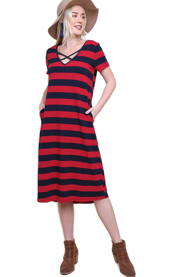 Striped T-Shirt Midi Dress, Navy / Red