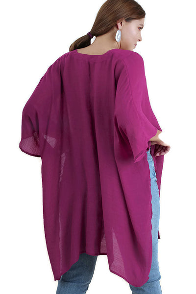 V-Neck Caftan Tunic, Berry