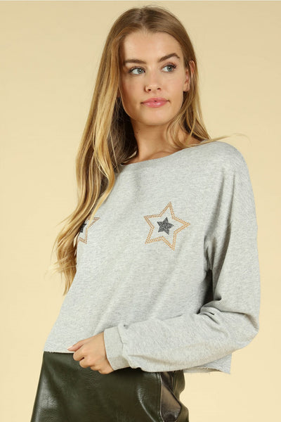 Jeweled Star Cropped Top, Heather Gray