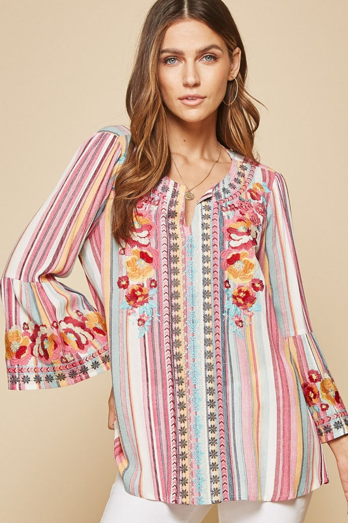 South Beach Embroidered Top, Striped