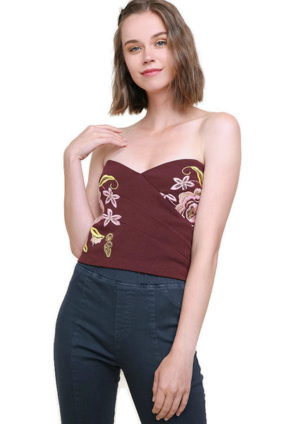 Beaded & Embroidered Crop Top, Maroon