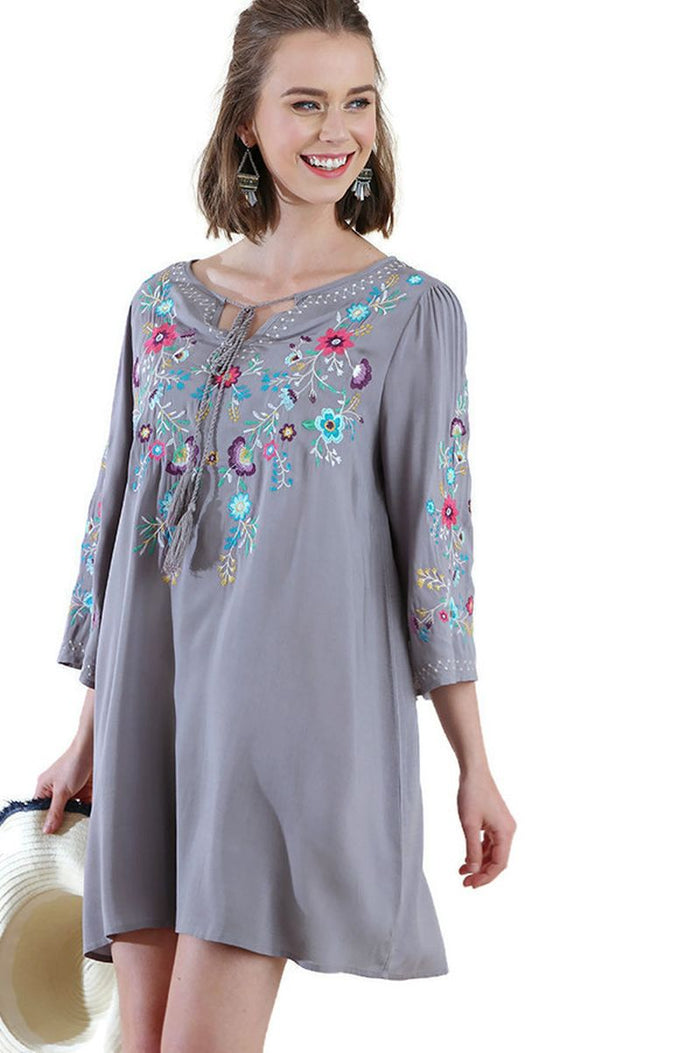 Floral Embroidered Tassel Tie Dress, Grey