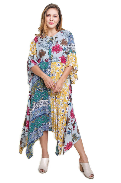 Multi Floral Bell Sleeve Maxi Dress, Sage