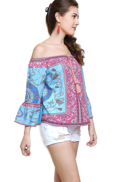 Scarf Print Off The Shoulder Top, Blue