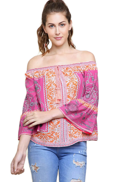 Scarf Print Off The Shoulder Top, Pink