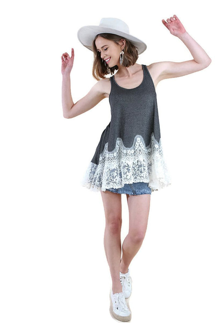 Floral Lace Racerback Tunic Tank, Charcoal