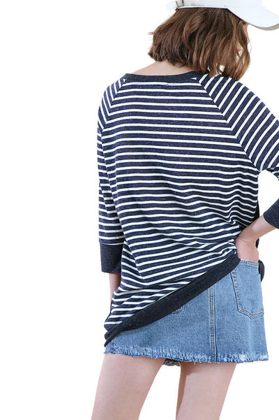 Striped & Solid Kangaroo Pocket Tunic, Navy