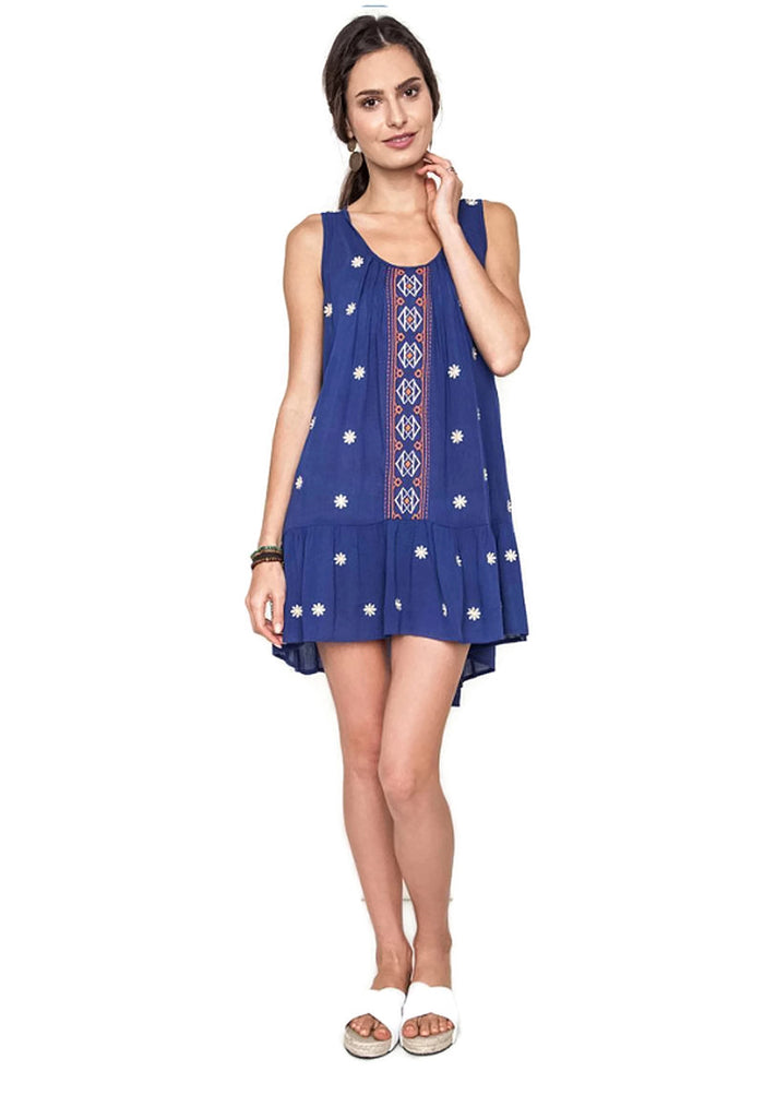Sleeveless Floral Embroidered Mini Dress, Indigo