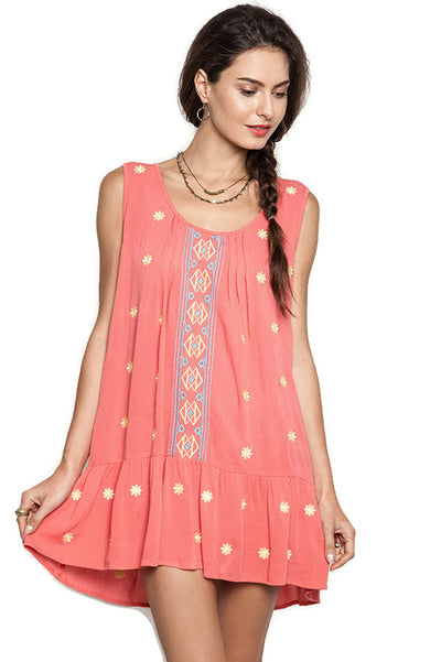 Sleeveless Floral Embroidered Dress, Coral