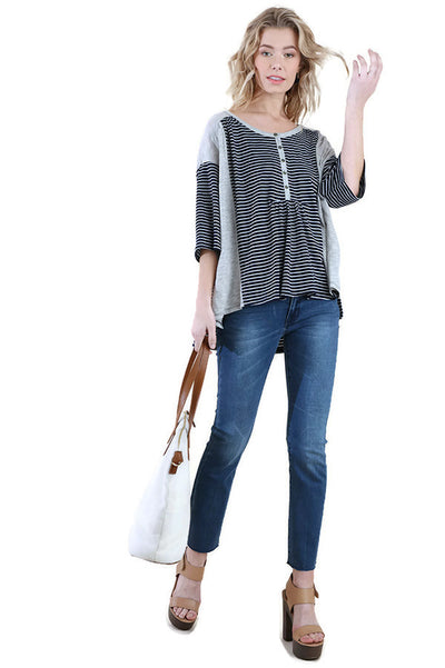 Striped & Solid Elbow Sleeve Top, Navy & Grey