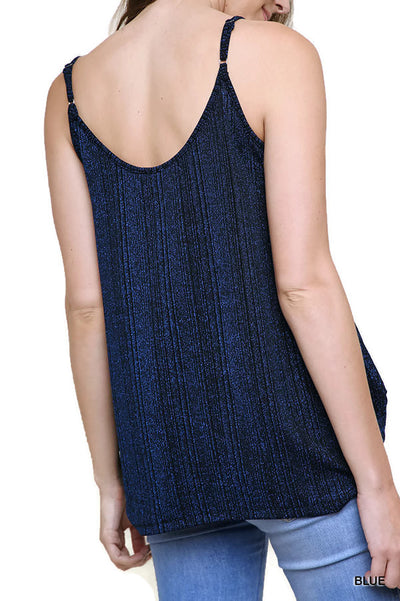 Lurex Cowl Neck Tank Top, Blue