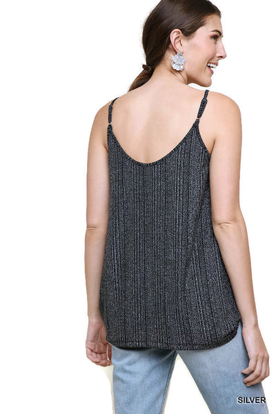 Lurex Cowl Neck Tank Top,  Silver