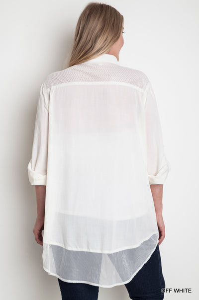 Button Up Mesh Blouse, Off White