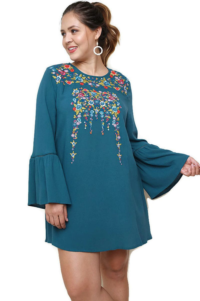Floral Embroidered Dress, Teal