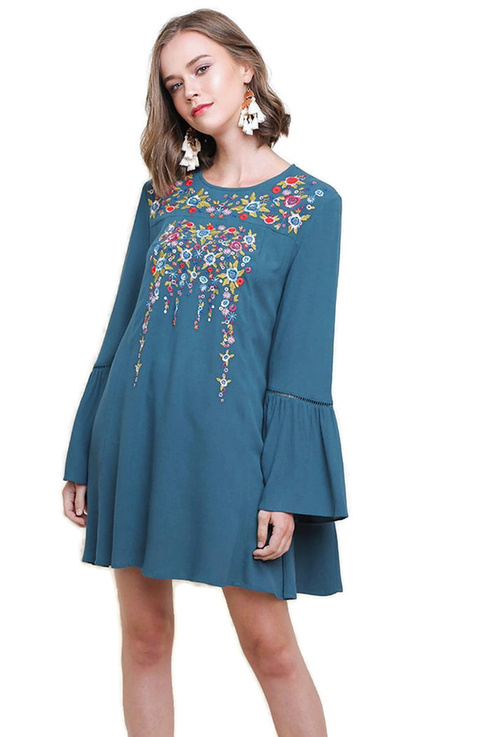 Floral Embroidered Bell Sleeve Mini Dress, Teal