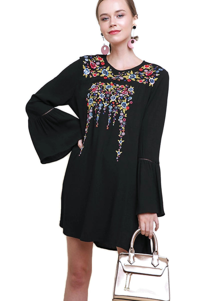 Floral Embroidered Bell Sleeve Mini Dress, Black